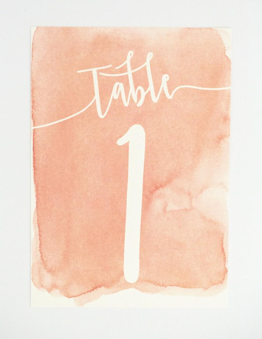 Wedding table numbers coral ombre modern design with for Table coral sample