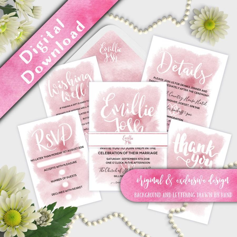 "Wedding - Printable Wedding Invitation Set, Custom wedding Invitations, 5 x 7"" Custom Names, Coral, Blush, Printable Invitation Set, Invitation Bundle"