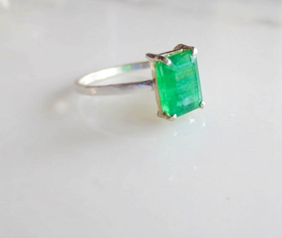 Custom Emerald Engagement Ring Emerald Cut Natural Colombian