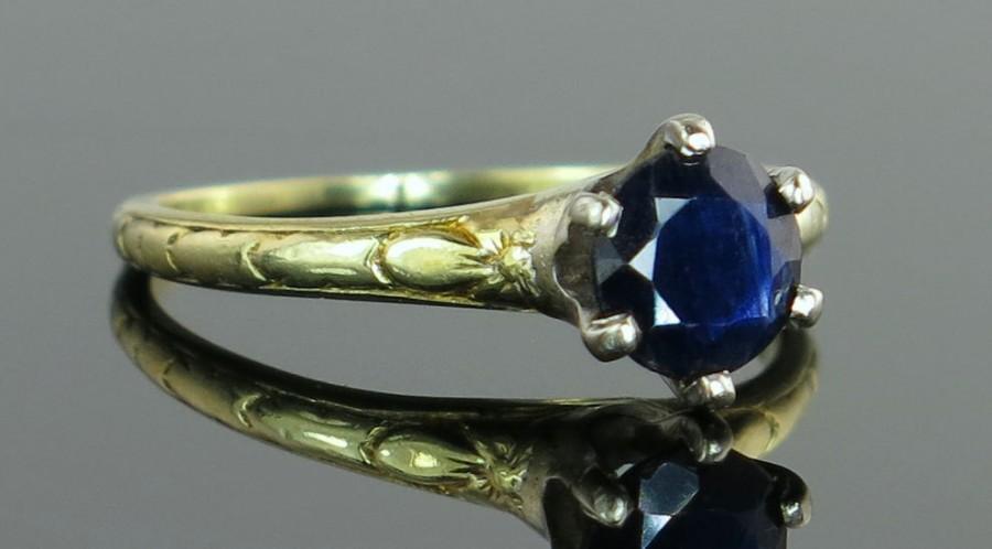 Wedding - Estate Vintage Traub 14K Gold .75ct Genuine Blue Sapphire Art Deco Ring 1.9g