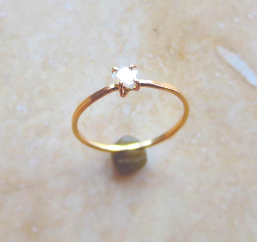 زفاف - Diamond Slice Engagement Ring, Alternative Wedding Ring, Rose Cut Organic Shape, Rose Gold, Yellow Gold, White Gold Made To Order