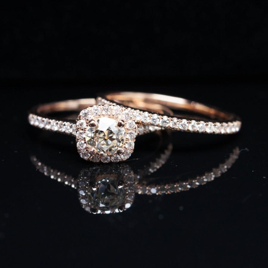 Свадьба - Old European Cut Diamond Halo Engagement Ring & Wedding Band Bridal Set 14k Rose Gold Eco Friendly Vintage Inspired