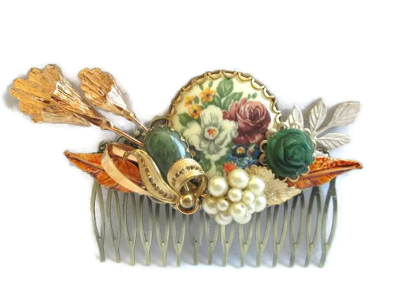 Mariage - Autumn Wedding Hair Comb Jeweled Bridal Hairpiece  Accessories Green Brown Hairpin