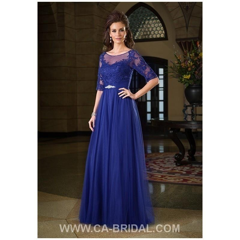 Wedding - Demure A-Line Bateau 1/2 Sleeves Applique Floor-length Tulle Mother of Bride Dress - dressosity.com
