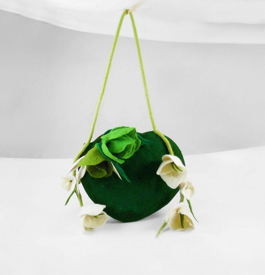 Свадьба - Felted Bag Wedding Handbag NunoFelt Purse Nunofelt Bag Nuno felt Silk fairy jade olive floral fantasy shoulder bag Fiber Art boho