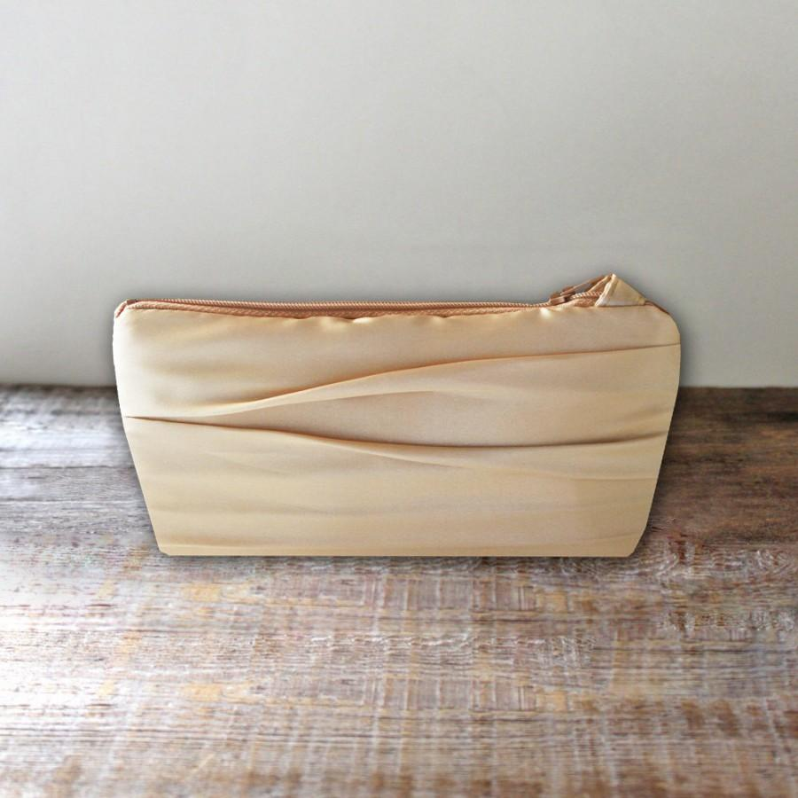 Mariage - Flat Bottomed Pleated Clutch- Satin Bridesmaid Clutch- 32 Colors