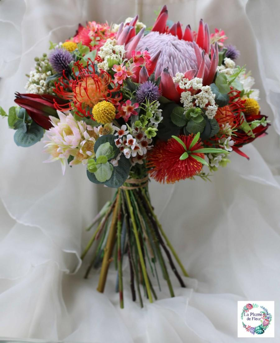 Свадьба - Rustic bouquet.  Bride, bridesmaid bouquet of rustic, native flowers.  Protea, banksia, wattle, gumnuts.  Australian wedding flowers.