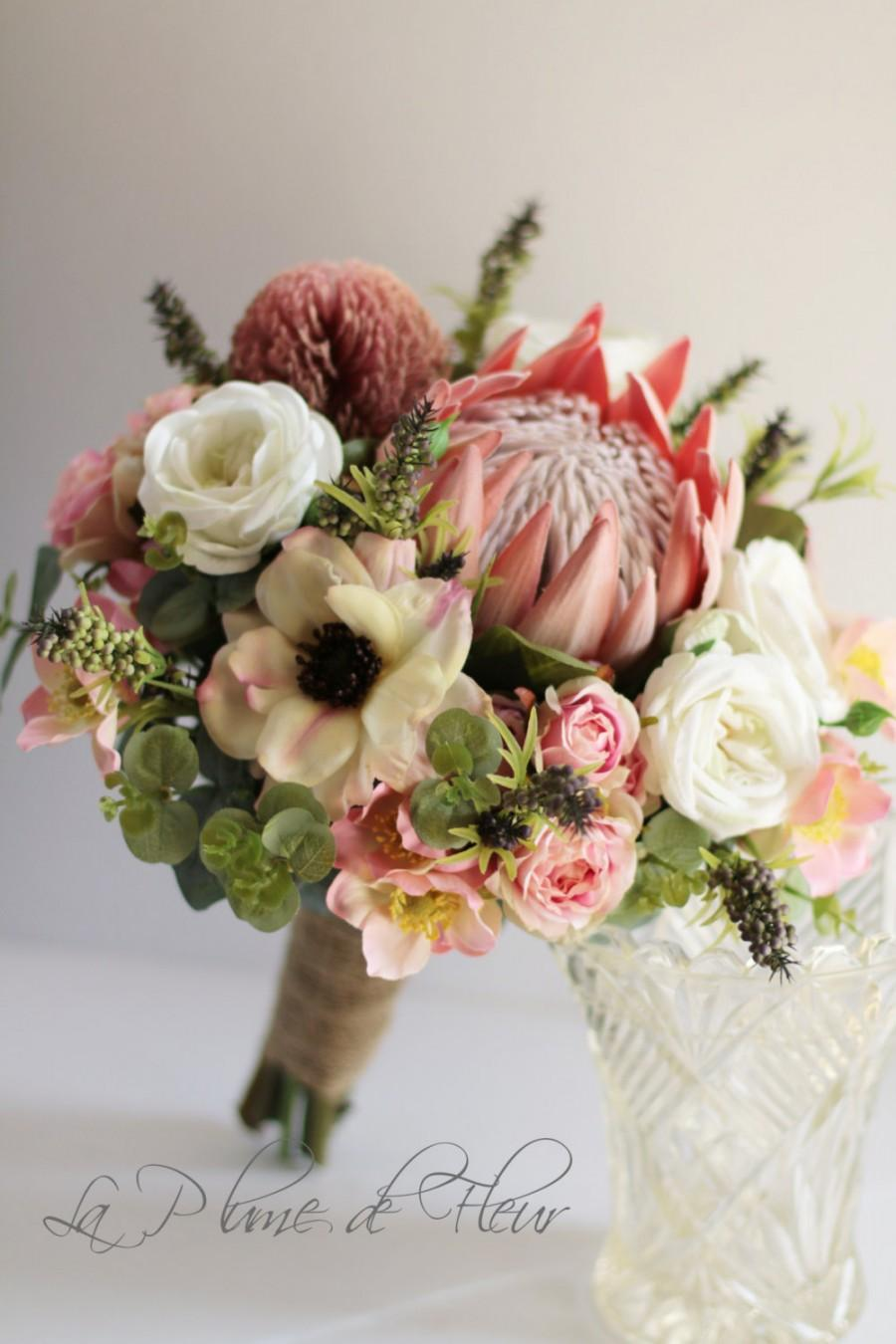 Свадьба - Melba - Bride's bouquet. Australian natives and cottage flowers.  Protea, banksia, gum, roses, anemones, wildflowers & wild pepper berries.