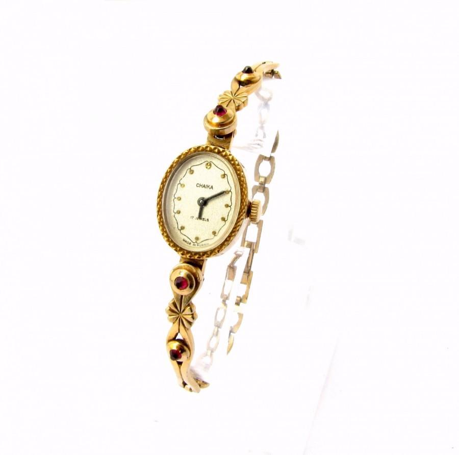 Hochzeit - Ladies Wrist Watch Ladies Wrist Chaika USSR Gildet Women's Watch Seagull Unique Women Watch Bracelet Watch 1980s Gold plated Women watch