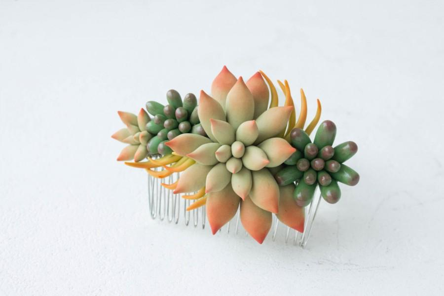 Mariage - Green Succulent Planter Succulent Comb Decorative Comb Wholesale Succulent Jewelry Wedding Bridal Bride Birthday Gifts Hair Accessory
