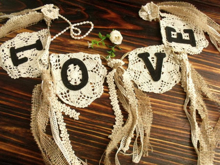 Mariage - Wedding LOVE Burlap Banner Vintage Lace Bunting SHABBY baby shower Chic Rosettes Cream