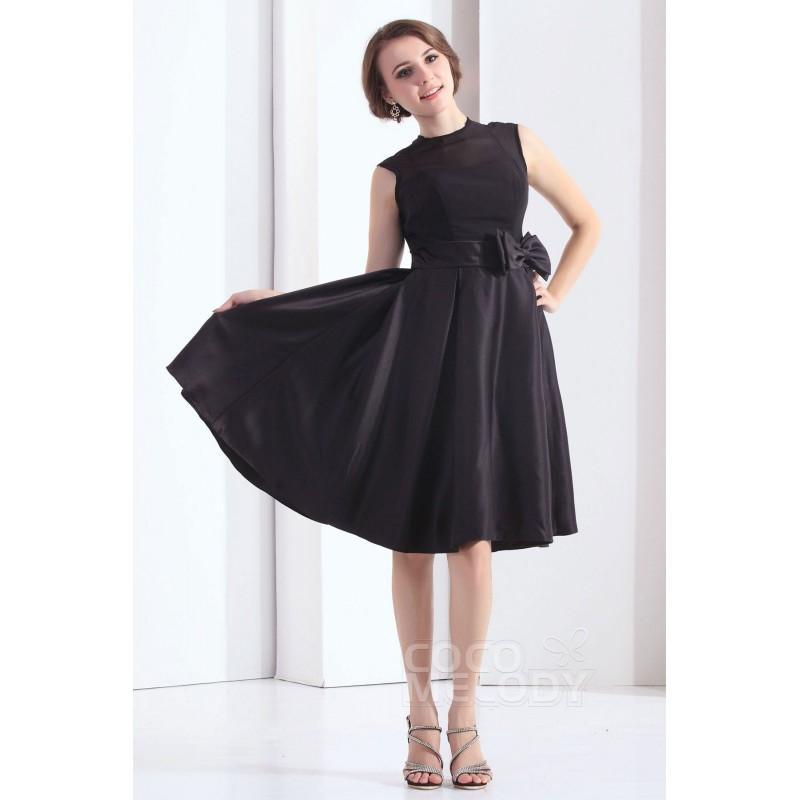Свадьба - Simple A-Line Illusion Knee Length Satin Black Bridesmaid Dress COKK13001 - Top Designer Wedding Online-Shop