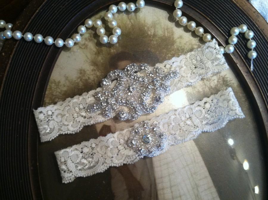 Wedding - SALE-Wedding Garter - Ivory Lace Garter Set - Rhinestone Garter - Applique Garter - Vintage - Bridal Garter - Vintage Garter - Toss Garter