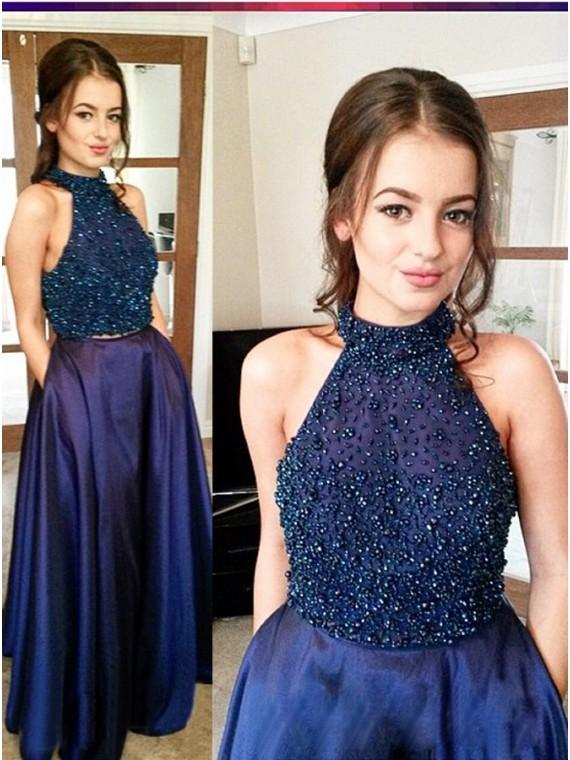 Wedding - Buy Magnetic Navy Blue Two Piece Halter Floor-Length Beading Prom Dress Navy Blue, from for $424.99 only in Main Website.