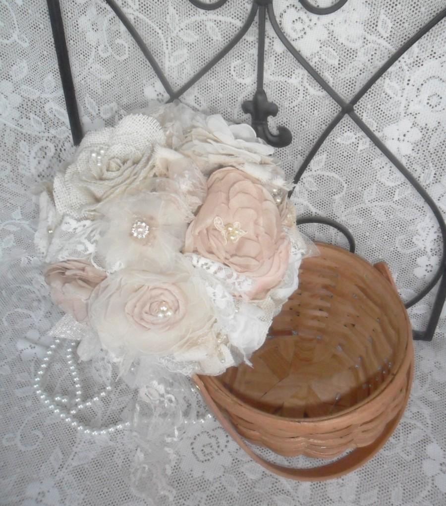 Mariage - Brooch Bouquet, Fabric Bridal Bouquet, Wedding Accessory, Vintage Bouquet, Blush Wedding Bouquet, Bridal Accessory, MANY COLORS AVAILABLE