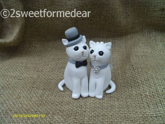 Wedding - Cat bride and groom wedding cake topper