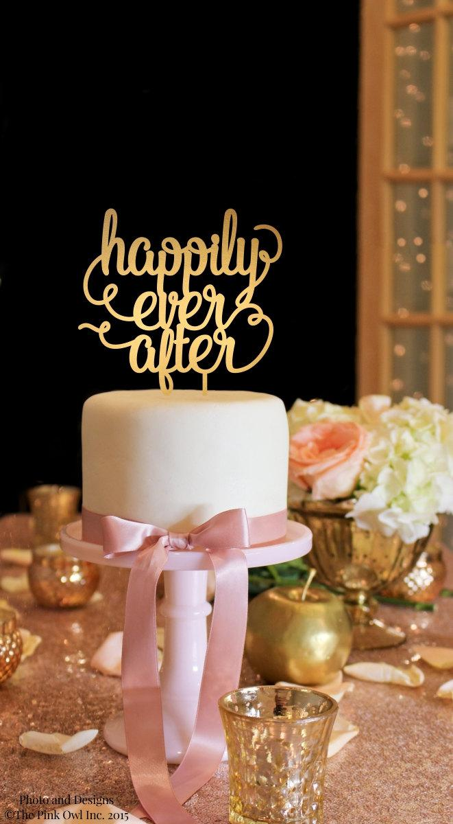 Mariage - Wedding Cake Topper - Happily Ever After Wedding Cake Topper - Gold Cake Topper