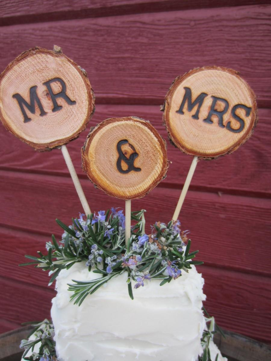 Mariage - Wedding cake topper, rustic wedding cake topper, cake topper, mr and mrs topper, cupcake topper, rustic cake topper, wood cake topper