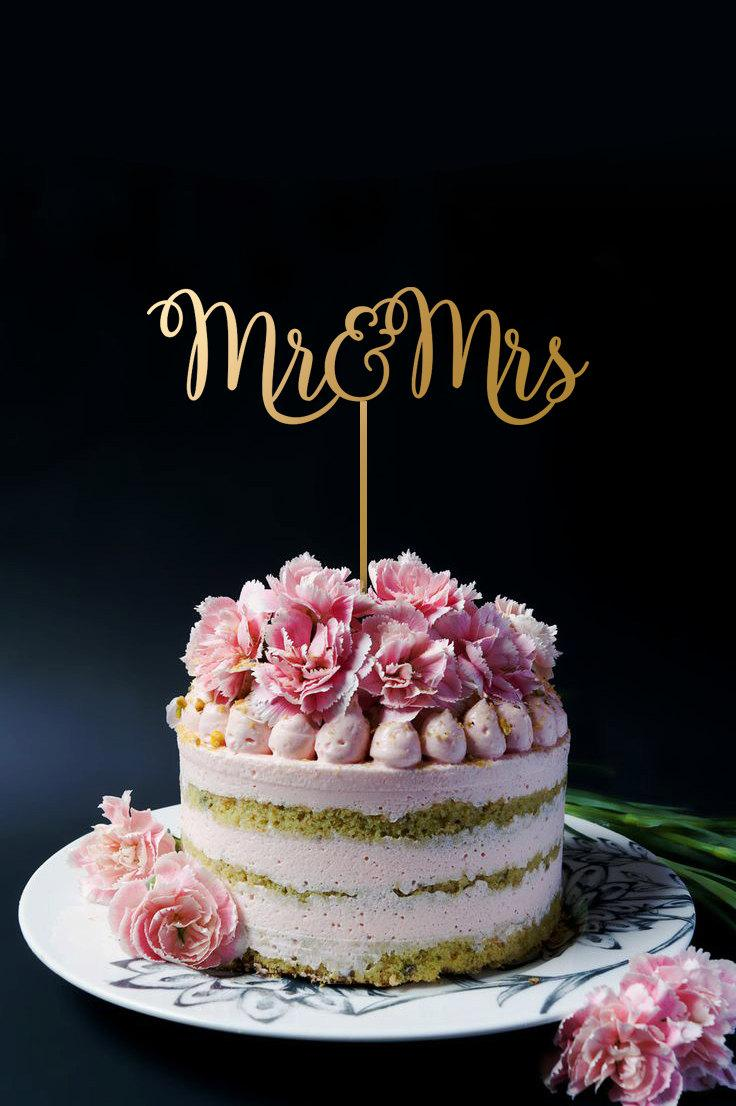 Mariage - Mr and Mrs Cake Topper - Wedding Cake Topper - Gold Cake Topper A2038