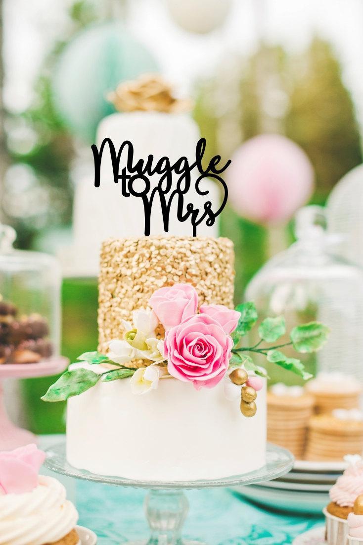 Wedding - Harry Potter Inspired Cake Topper - Muggle to Mrs Bridal Shower Cake Topper