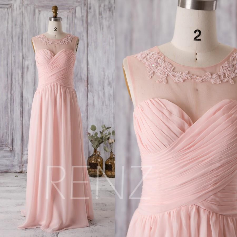 Hochzeit - 2016 Peach Chiffon Bridesmaid Dress, Sweetheart Illusion Wedding Dress with Lace, Ruched Bodice Long Prom Dress Floor Length (G202)