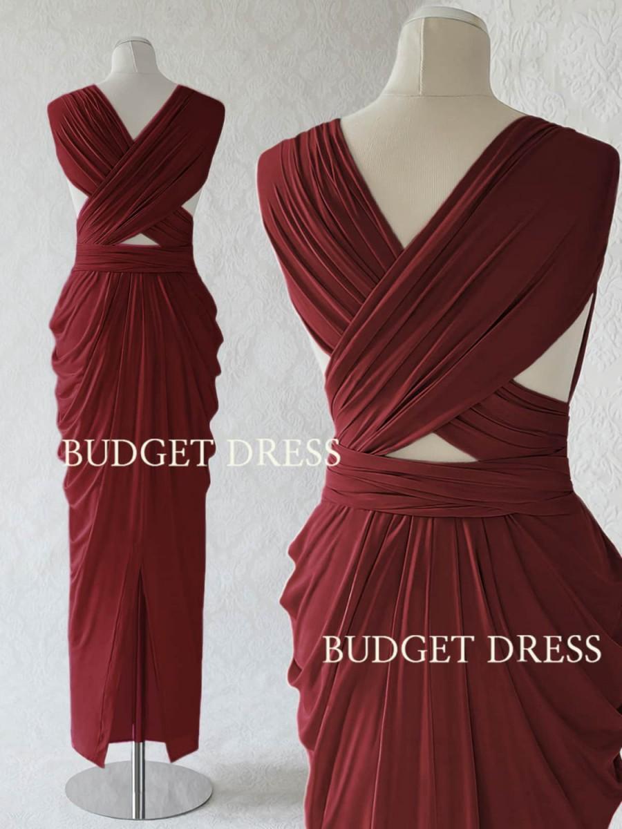 زفاف - NEW STYLE Marsala Red Convertible Dress, Twist And Wrap Bridesmaids Dresses, Full Length Prom Dress With Slit, Multiway Event Dresses