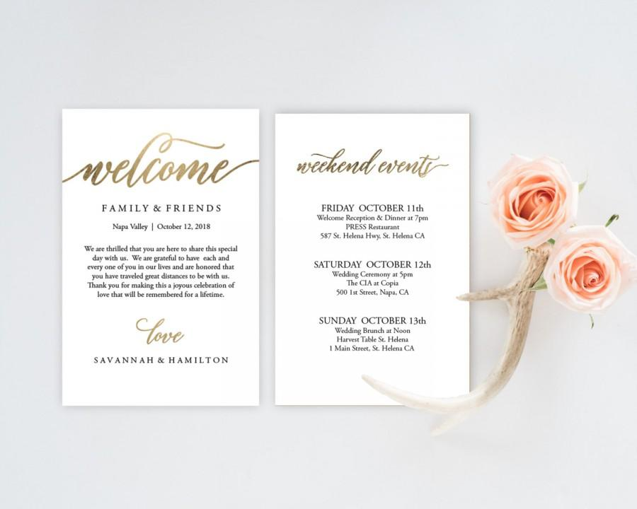 Wedding Welcome Bag Note Gold Wedding Calligraphy Welcome Bag