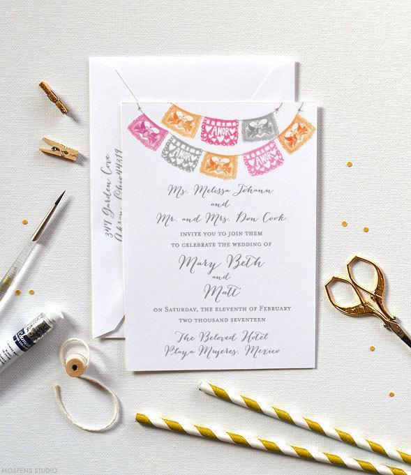 Papel Picado Wedding Invitations Mexican Wedding Invitation Set Of