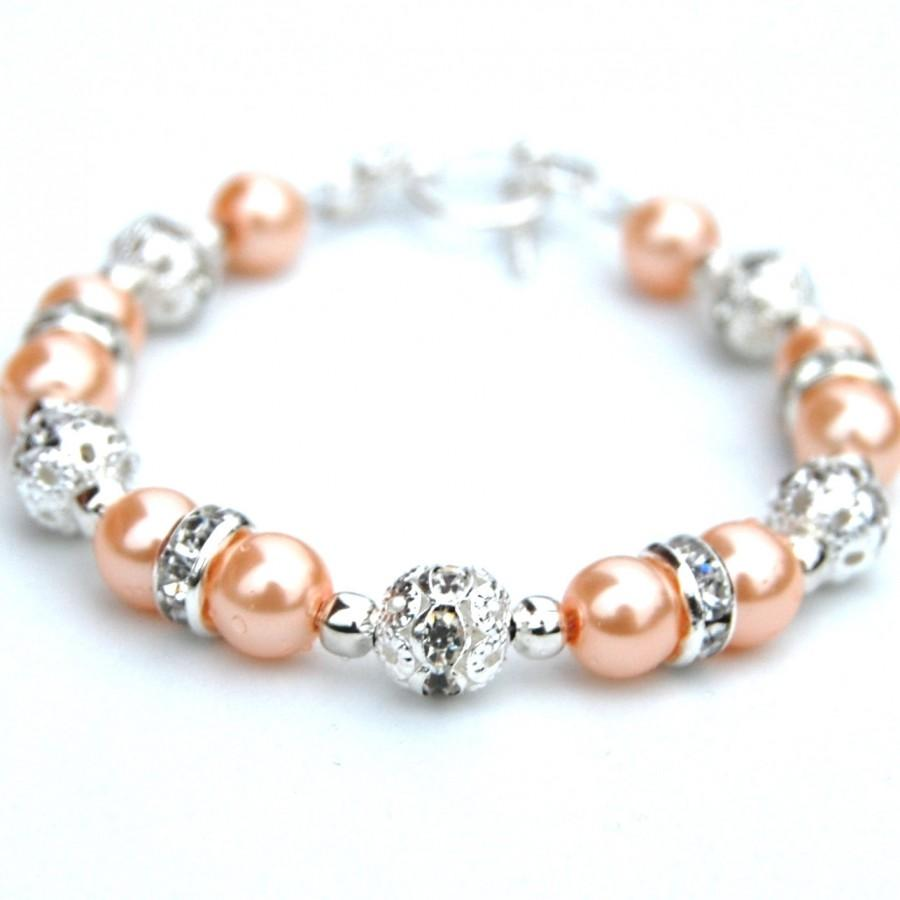 Düğün - Peach Pearl Bracelet, Pale Peach Wedding, Autumn Wedding, Bridesmaid Gifts, Bridesmaid Jewelry, Pastel Jewelry, Peach Bridesmaids
