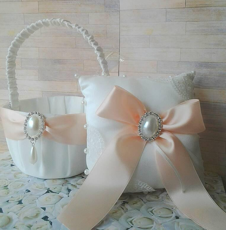 Mariage - Blush ivory or white wedding lace satin pearl rhinestone flower girl basket, ring bearer pillow, set, bride eastern, confirmation