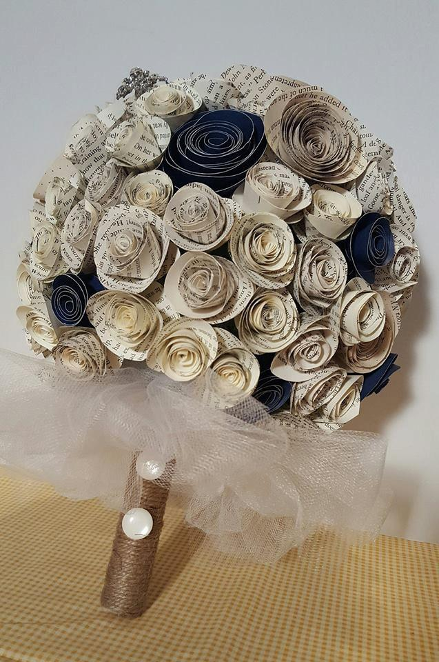 Paper flower bouquet wedding alternative bouquet wedding bouquet paper flower bouquet wedding alternative bouquet wedding bouquet paper bridal bouquet paper flowers book page navy blue large bouquet mightylinksfo