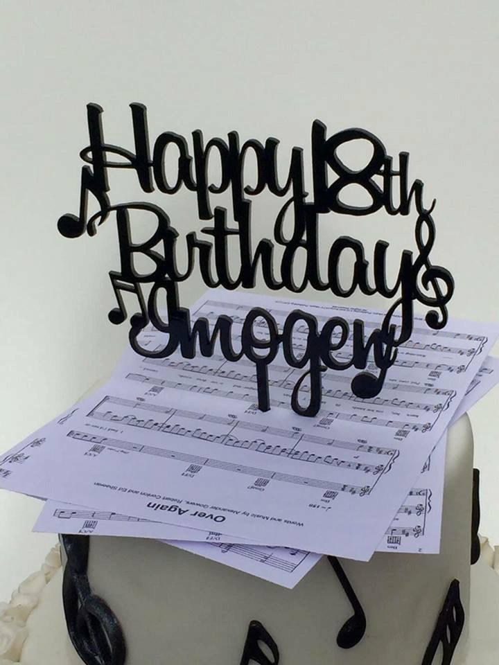 Music Note Cake Topper Custom Cake Topper Personalised Music Note