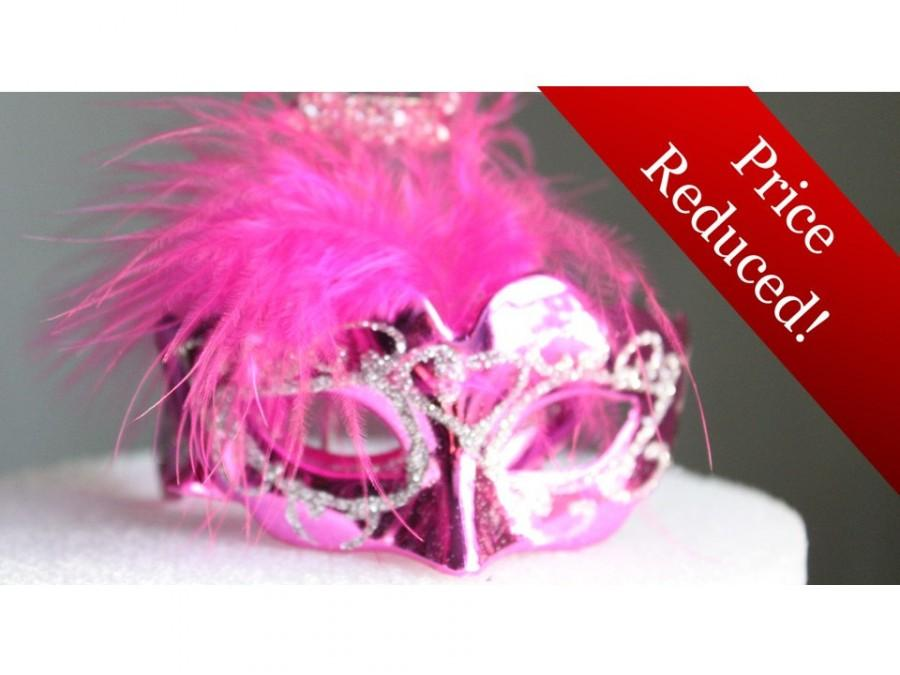 Miniature Mini Masquerade Masks Fuchsia Hot Pink Cake Topper
