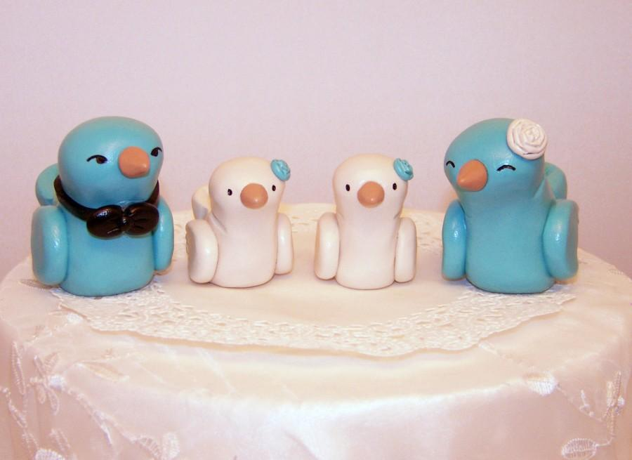 Mariage - Love Birds Wedding Cake Topper - Modern Family Custom Choice of Colors
