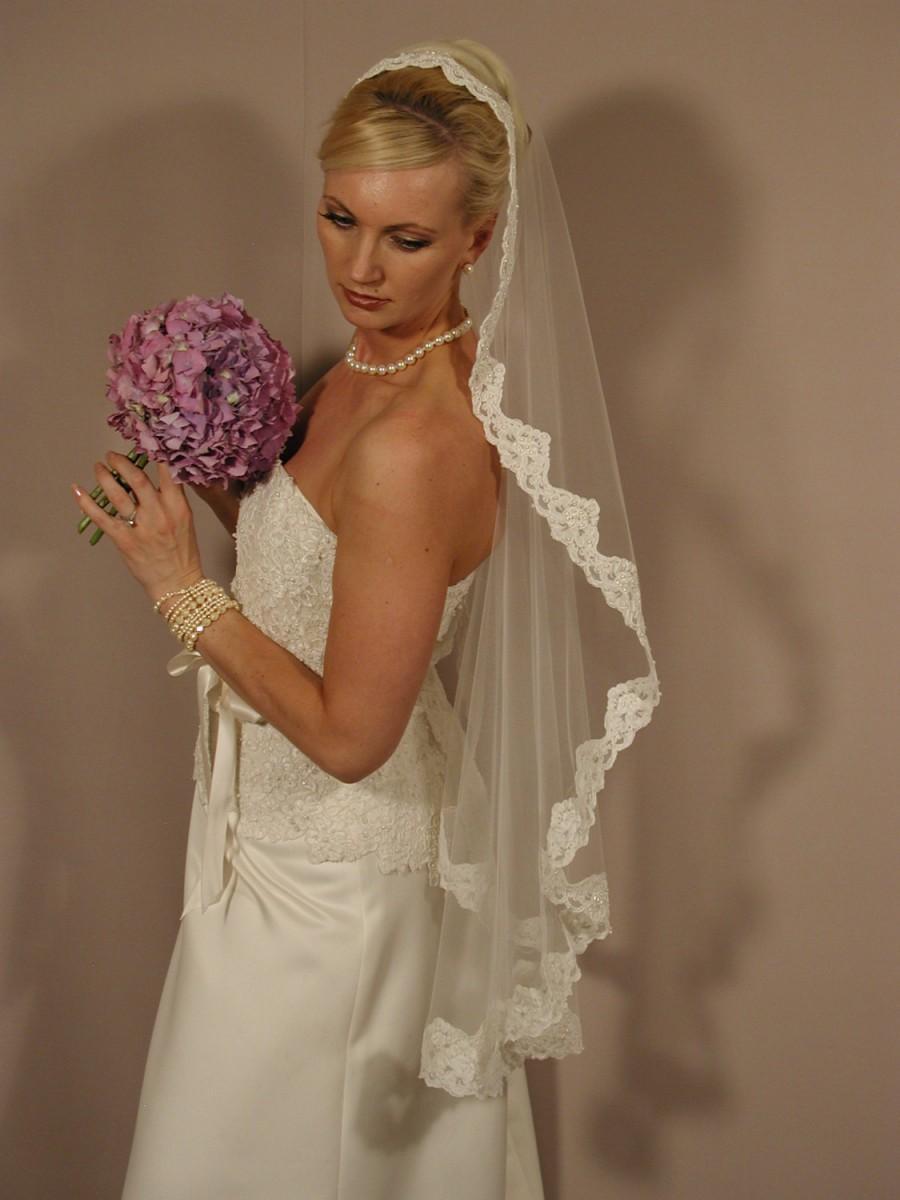 "Mariage - Mantilla wedding veil. Mantilla bridal veil. Mantill circular 42"" bridal veil"