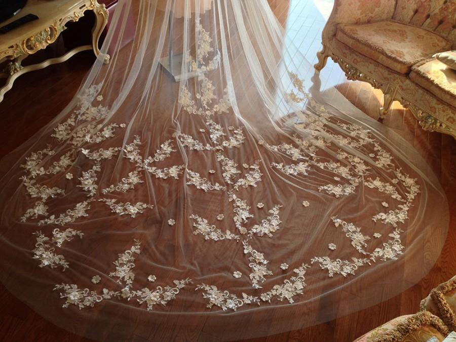 Wedding - Cathedral lace wedding veil, 2 tiers lace veil, wedding veil with blusher