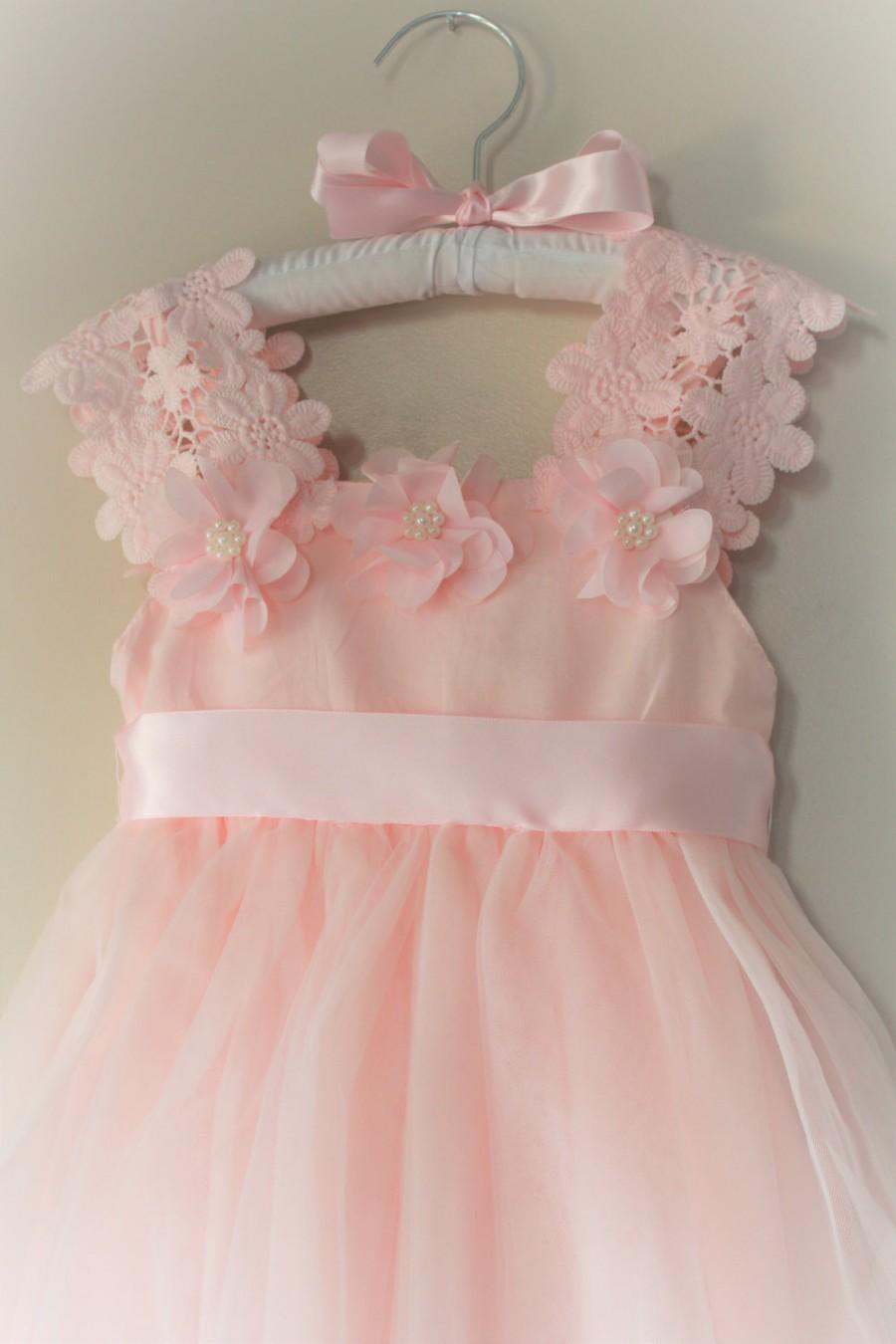 fb6525e228 Pink Flower Girl Dress- Flower Girl Dress- Light Pink Birthday Girl Dress-  Peagent Pink Dress Toddler- Girls Lace Dresses