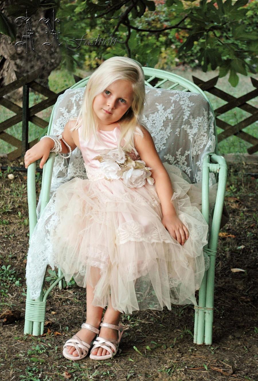 Mariage - Flower girl dress. Kids wedding dress.Free shipping