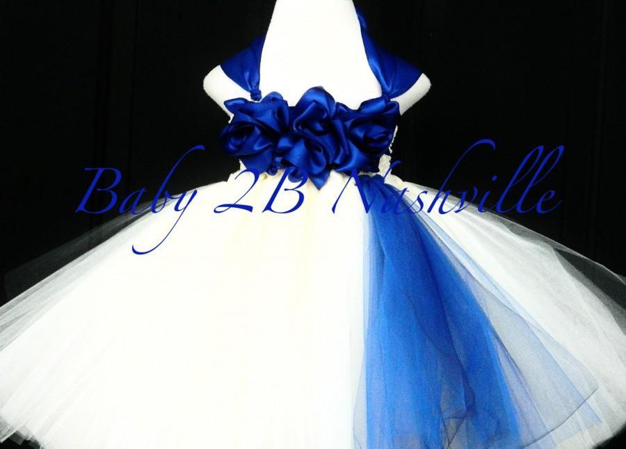 Mariage - Cobalt Blue Flower Girl Dress  Wedding Flower Girl Dress in Ivory All Sizes Girls