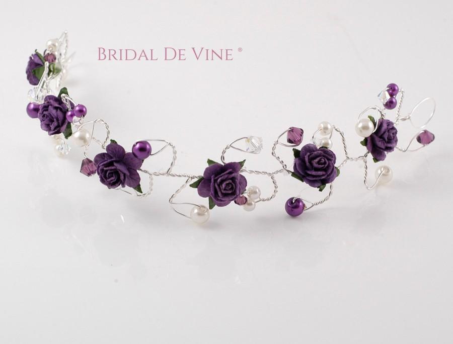Mariage - Dark Purple Aubergine Hair Vine  Bridesmaids Hair Accessory Hair Up Bun Wrap