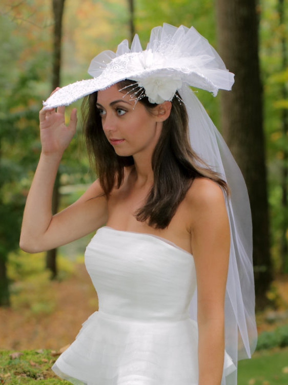 Mariage - Lace Wedding Hat, High Fashion Headpiece, Alencon Lace Hat with Veiling, Bridal Headpiece, Style No. 4131