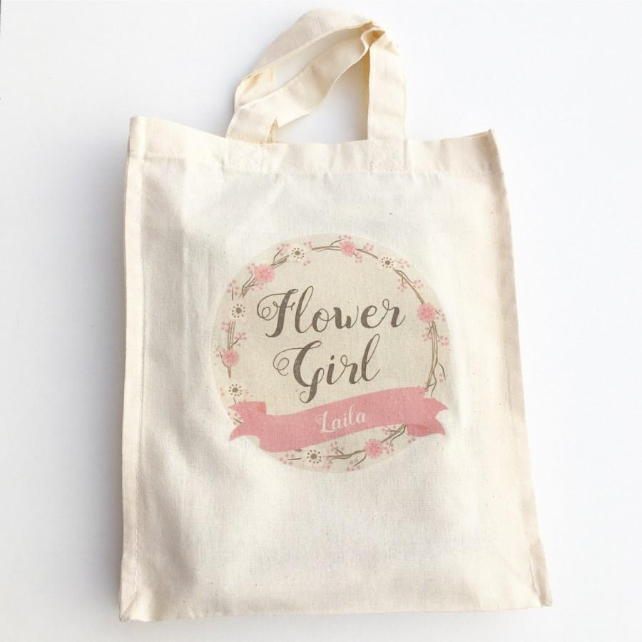 Mariage - Pink Flower Girl Bag, Personalised Pink Flower Girl Gift, Pink Flower Girl Favour Bag, Pink Name Wedding Bag, Flower Girl Keepsake