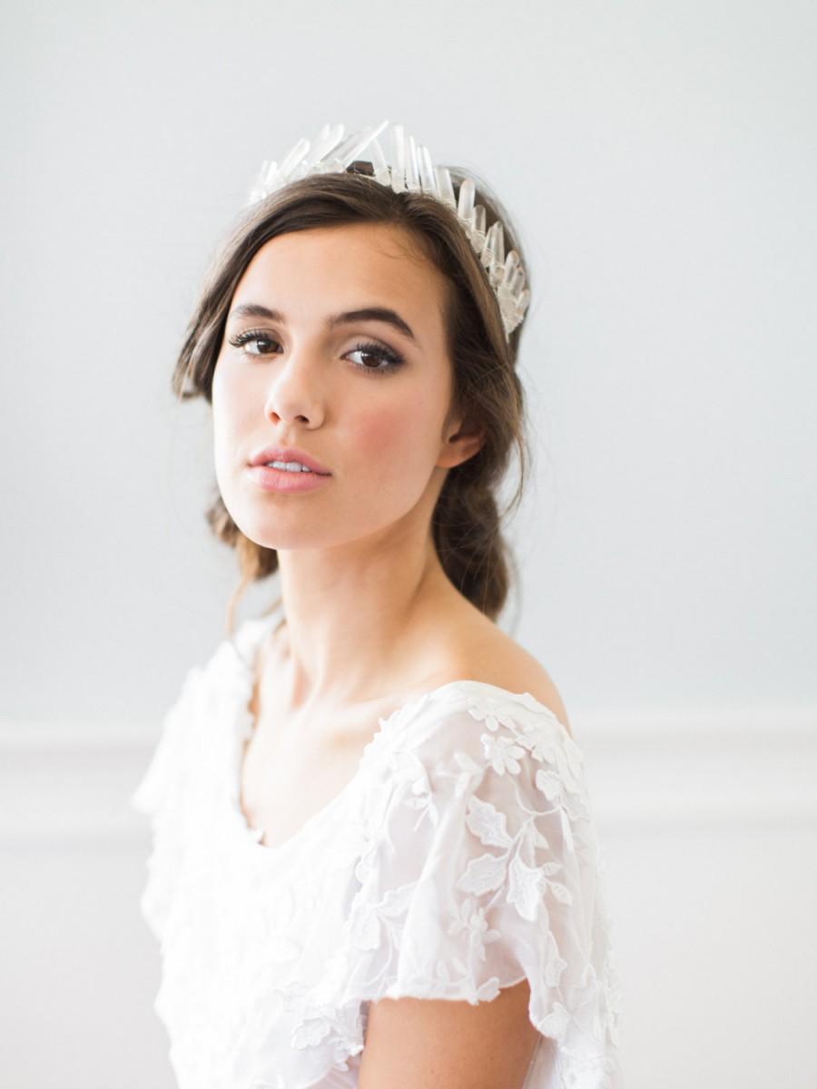 ISOLDE Quartz Crystal Bridal Tiara, Bohemian Raw Geode Wedding Crown ...