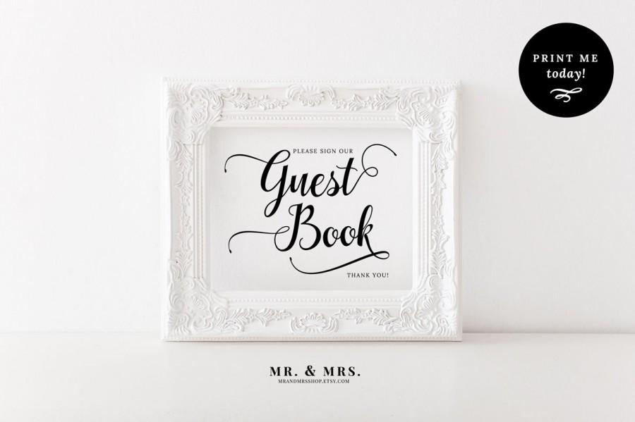 Mariage - Guest Book Sign, Printable Wedding Sign, Instant Download Guest Book Reception Sign, Calligraphy, PDF, Wedding Printable, MAM202_02