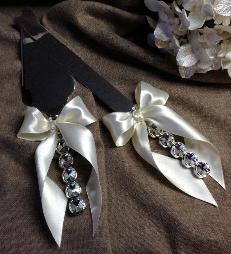Mariage - Crystal Wedding Cake Server Set White Wedding Cake Cutting Set Elegant Wedding Cake Cutter Set Crystal Handles Custom Color