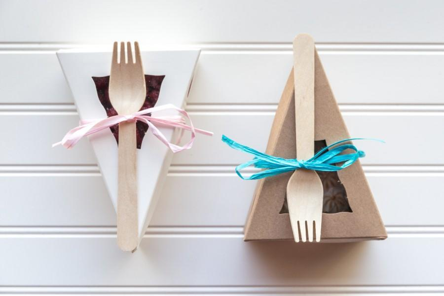"Свадьба - 12 Individual White or Kraft Pie Boxes With Windows With 12 Wooden Forks / 6 3/8"" x 4 1/4"" x 2 1/2"""