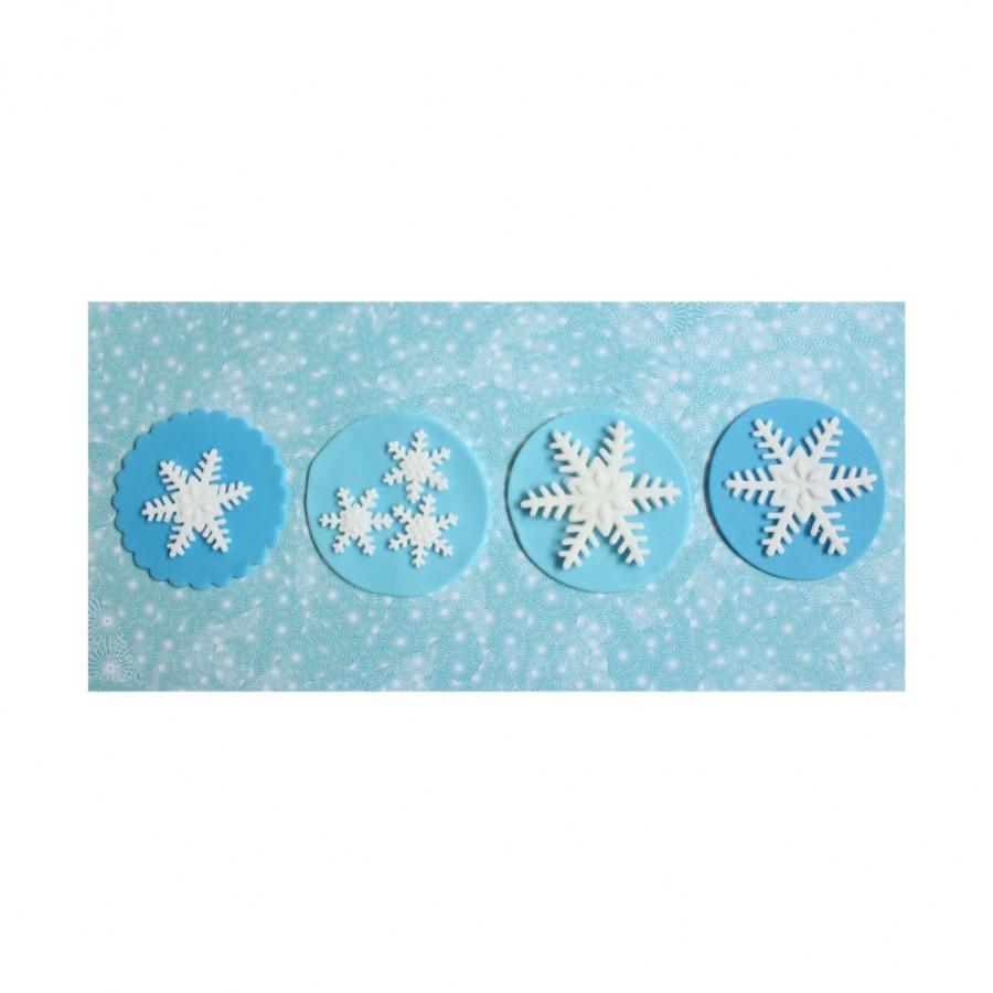 Boda - 12 snowflakes cupcake topper edible fondant decorations cookie sweet 16 wedding winter frozen birthday sweet 16 party favors baby shower
