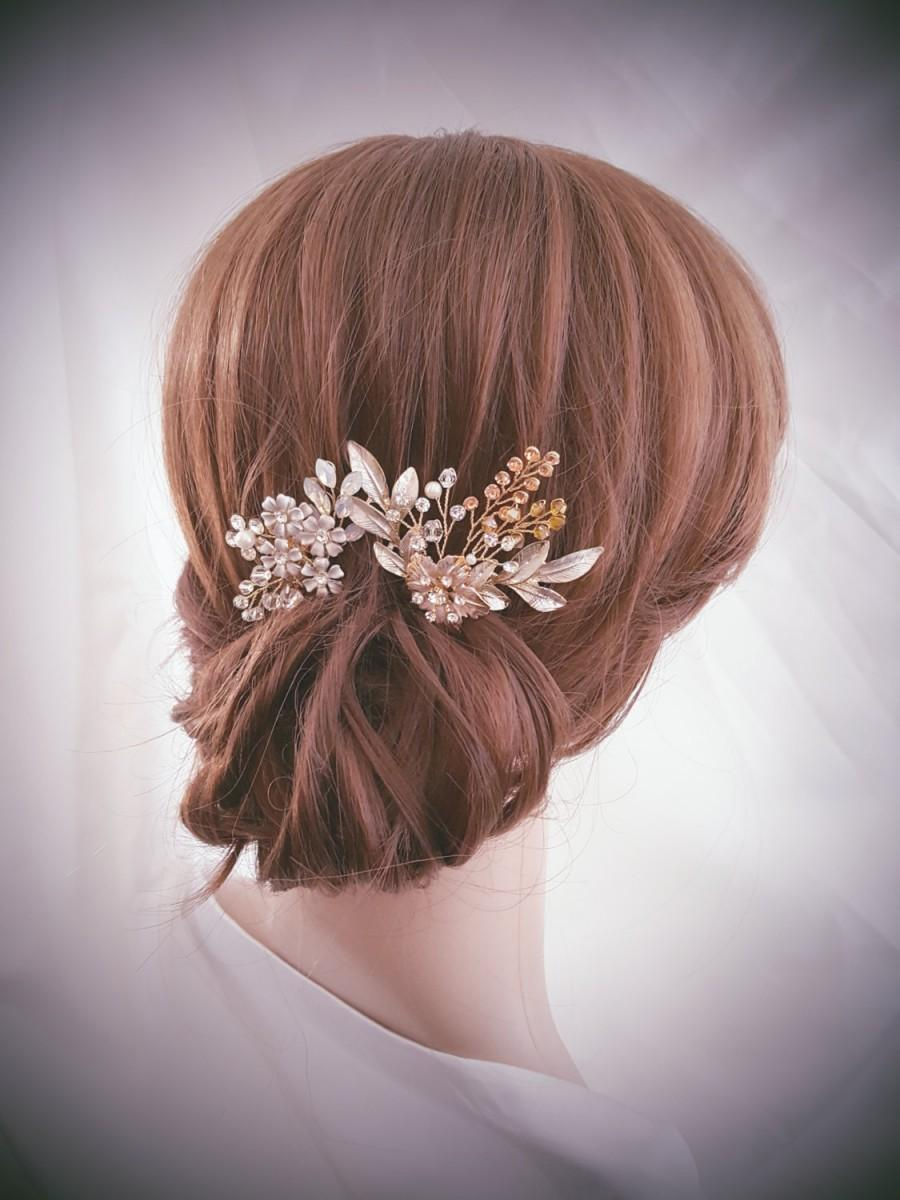 Mariage - Bridal Hair Pin, Wedding Hair Comb, Bridal Comb Set, Gold Hair Accessories, Rose Gold Hair Jewelry