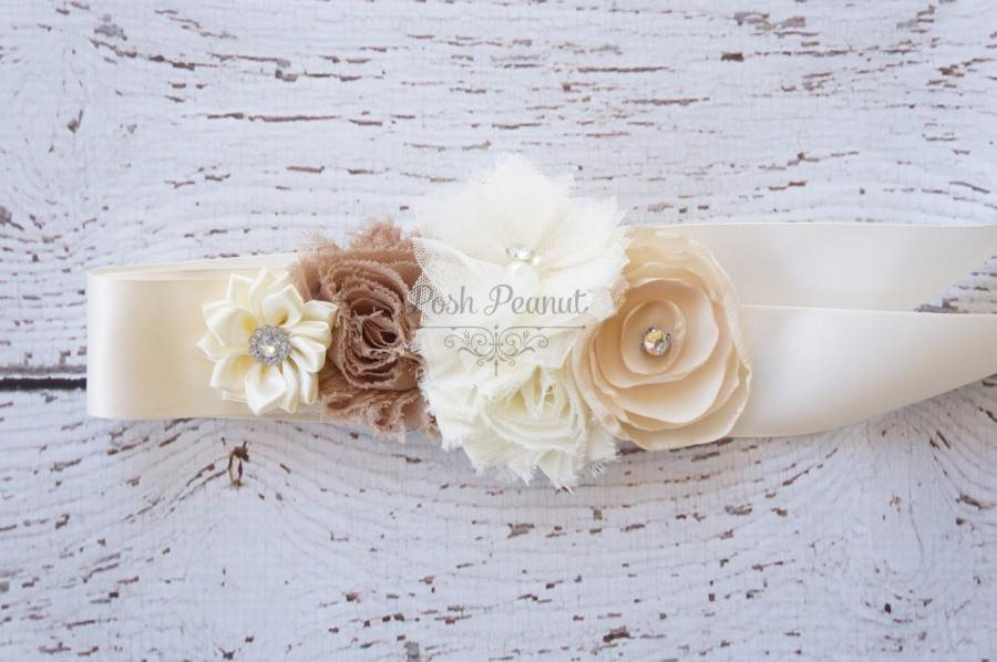 Mariage - Bridal Burlap Wedding sash- Wedding sashes and belts- flower girl sash- Wedding Sash-  sash- Bridesmaid sash- Bridal belt- flower girl belt