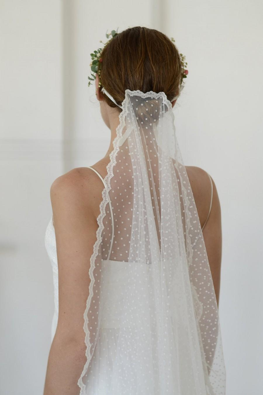 Mariage - Dotted tulle veil, polka dot veil with lace, lace wedding veil, one layer veil, unique veil, fingertip, chapel, cathedral length veil